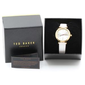 Ted Baker Womens Watch White Leather Band Gold